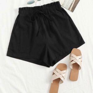 SHEIN Black Paperbag Shorts